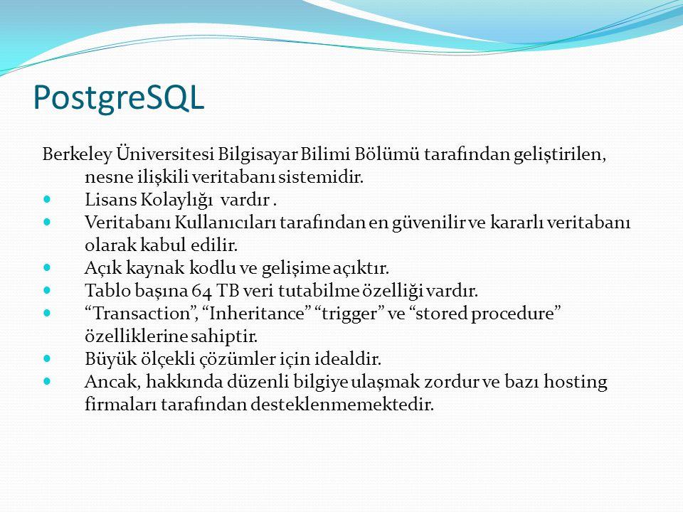 PostgreSQL Berkeley Üniversitesi Bilgisayar Bilimi Bölümü tarafından geliştirilen, nesne ilişkili veritabanı sistemidir.