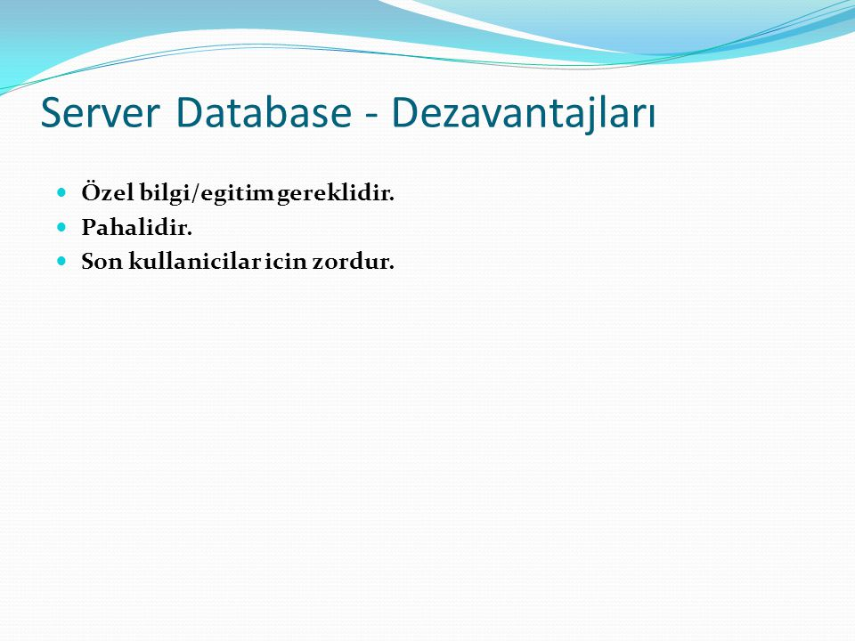 Server Database - Dezavantajları