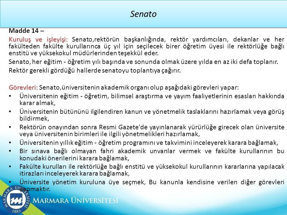 Senato Madde 14 –