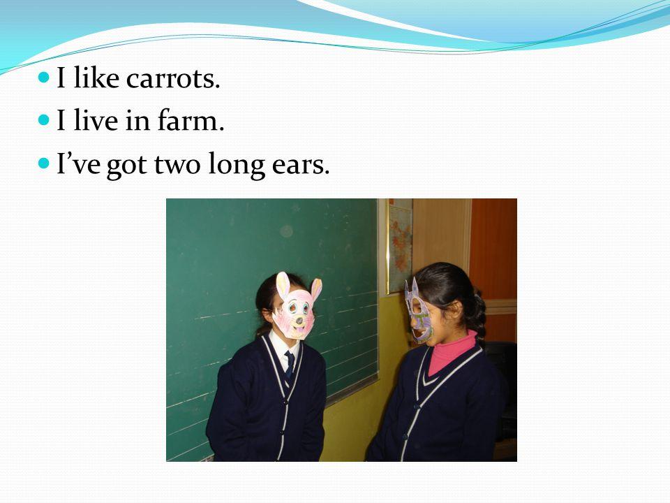 I like carrots. I live in farm. I've got two long ears.
