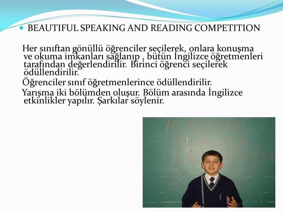 BEAUTIFUL SPEAKING AND READING COMPETITION