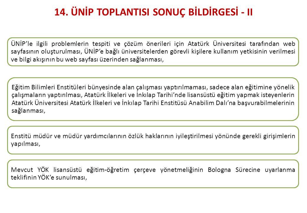 14. ÜNİP TOPLANTISI SONUÇ BİLDİRGESİ - II
