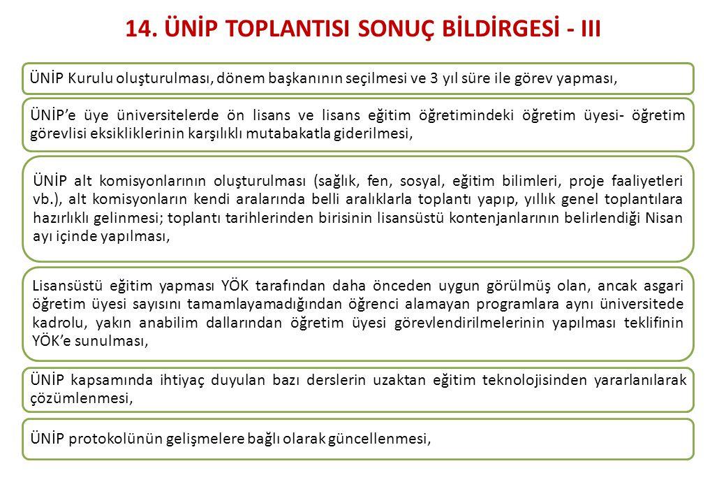 14. ÜNİP TOPLANTISI SONUÇ BİLDİRGESİ - III