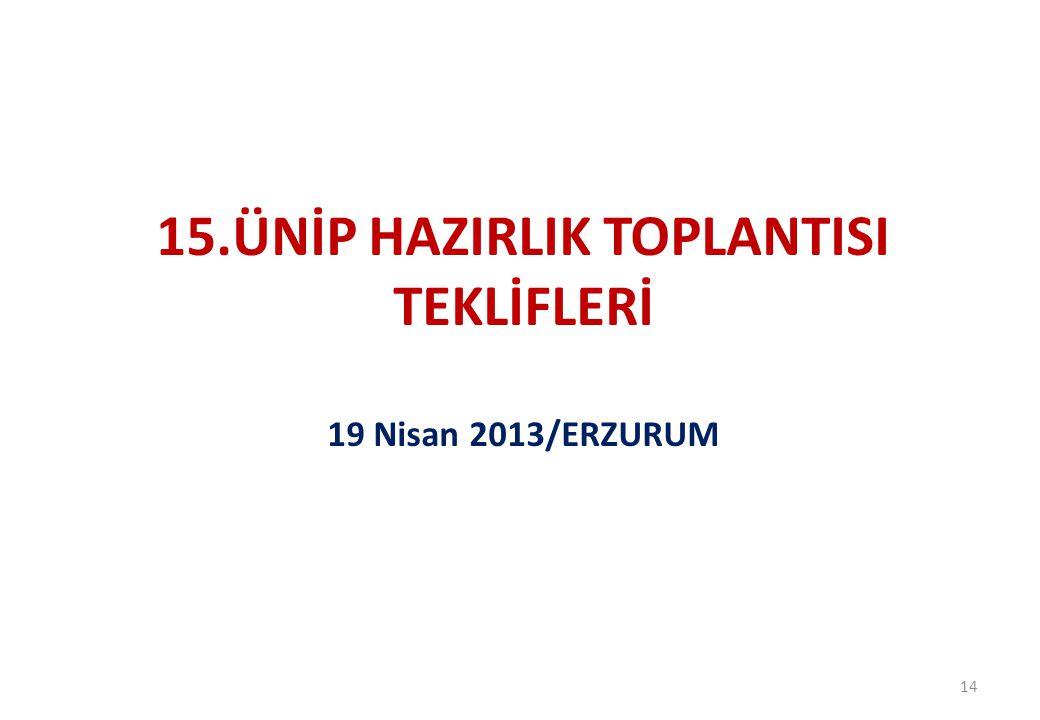 15.ÜNİP HAZIRLIK TOPLANTISI TEKLİFLERİ