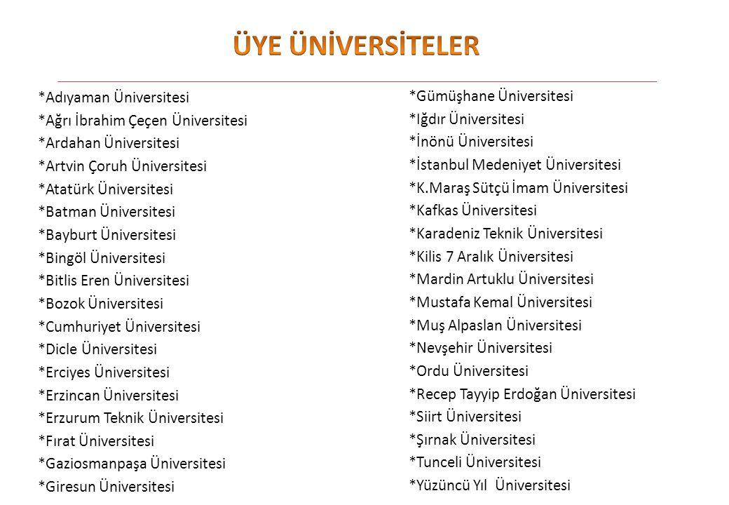 ÜYE ÜNİVERSİTELER *Adıyaman Üniversitesi *Gümüşhane Üniversitesi