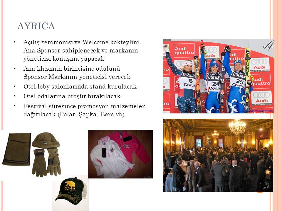 AYRICA Açılış seromonisi ve Welcome kokteylini Ana Sponsor sahiplenecek ve markanın yöneticisi konuşma yapacak.