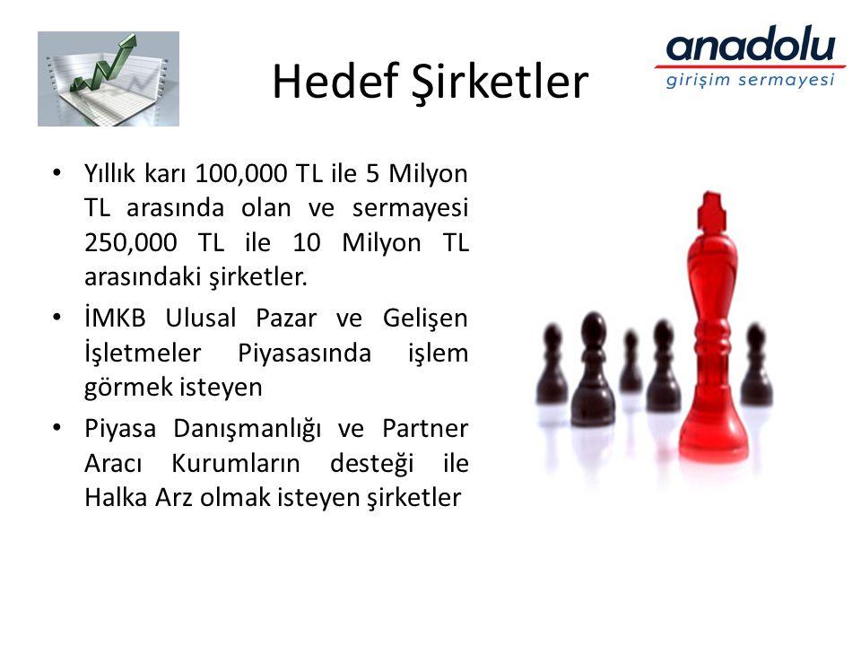 Hedef Şirketler Yıllık karı 100,000 TL ile 5 Milyon TL arasında olan ve sermayesi 250,000 TL ile 10 Milyon TL arasındaki şirketler.