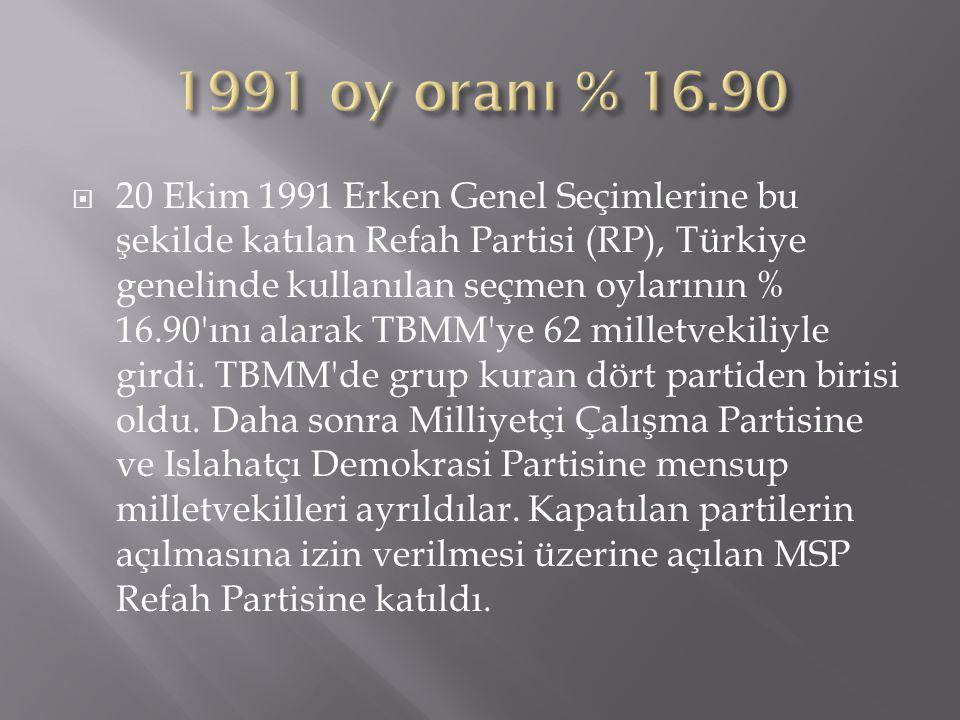 1991 oy oranı % 16.90