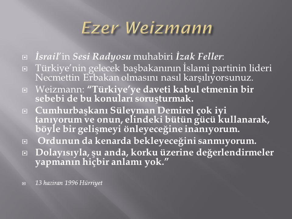 Ezer Weizmann İsrail'in Sesi Radyosu muhabiri İzak Feller:
