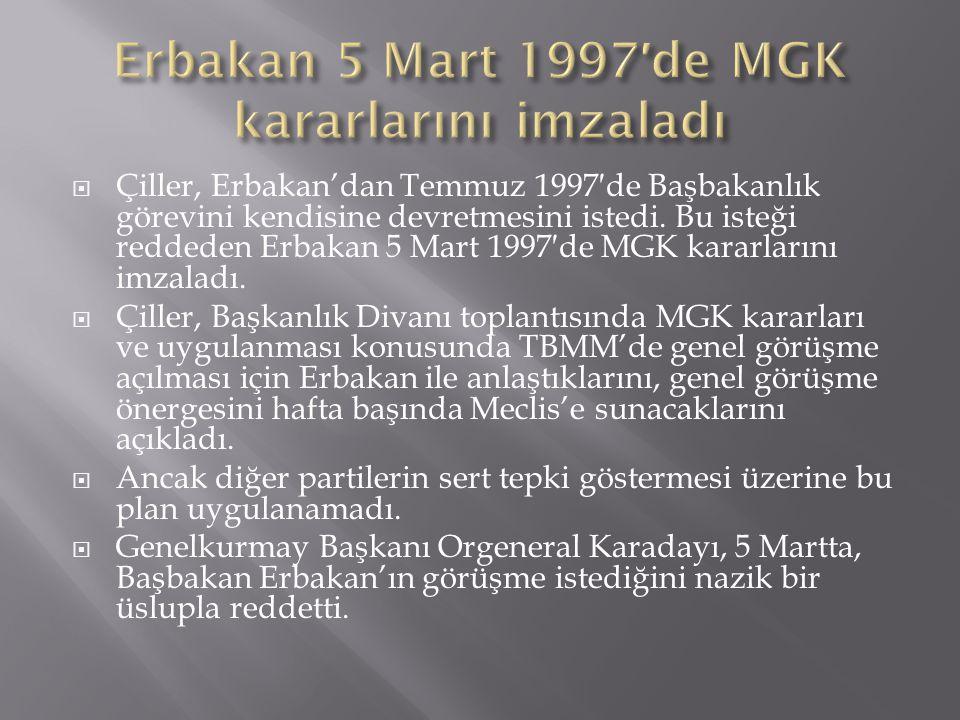 Erbakan 5 Mart 1997′de MGK kararlarını imzaladı