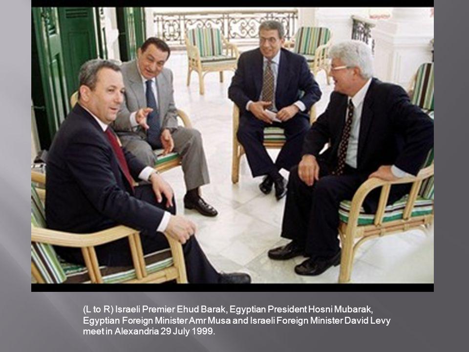 (L to R) Israeli Premier Ehud Barak, Egyptian President Hosni Mubarak,