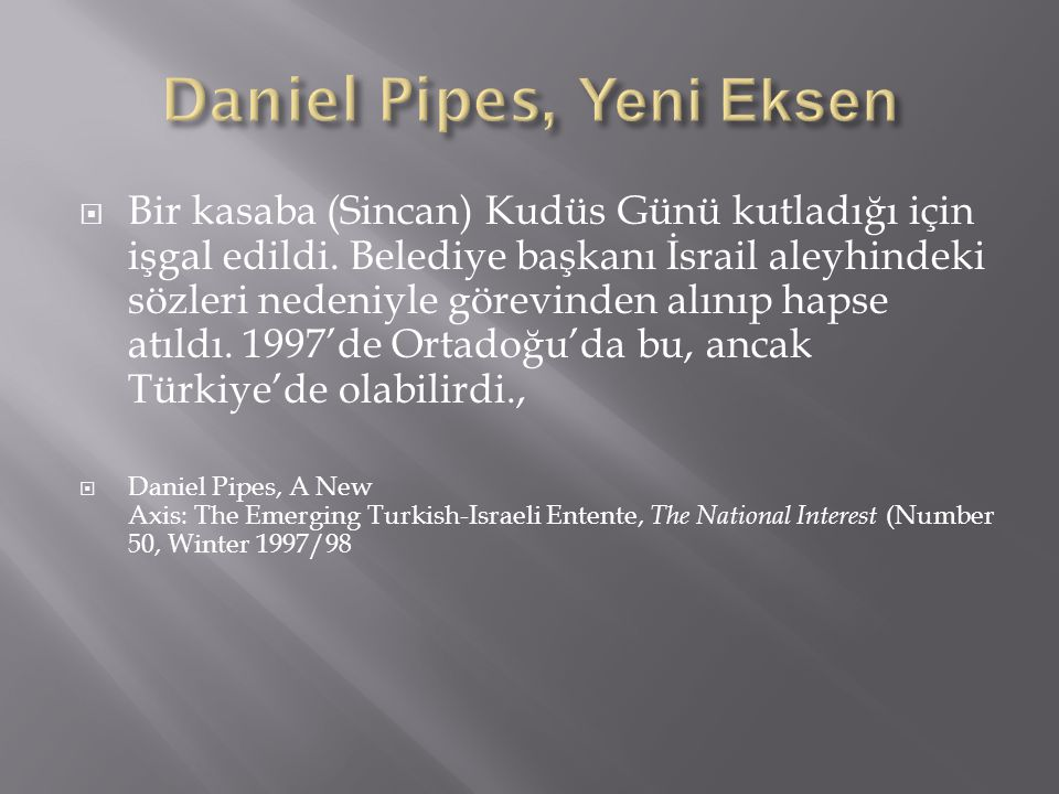 Daniel Pipes, Yeni Eksen