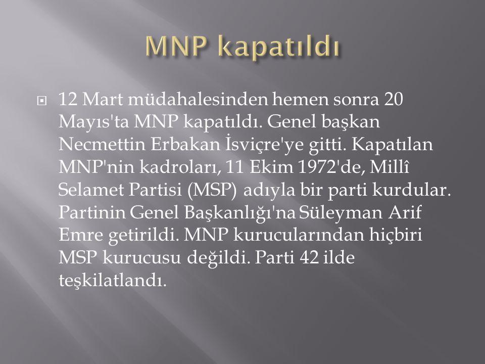 MNP kapatıldı