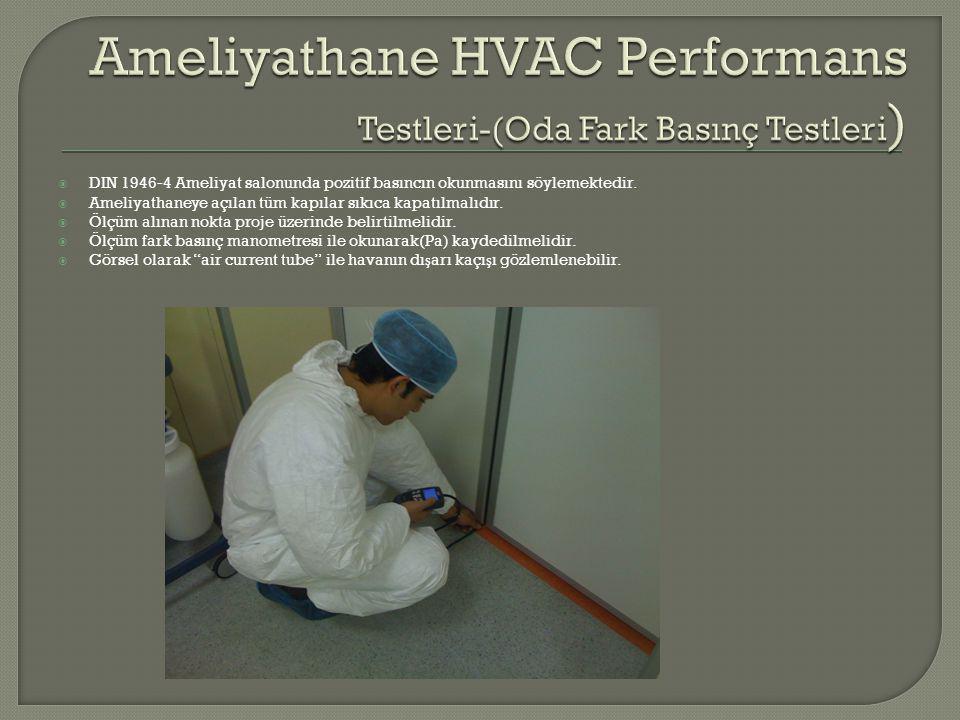 Ameliyathane HVAC Performans Testleri-(Oda Fark Basınç Testleri)
