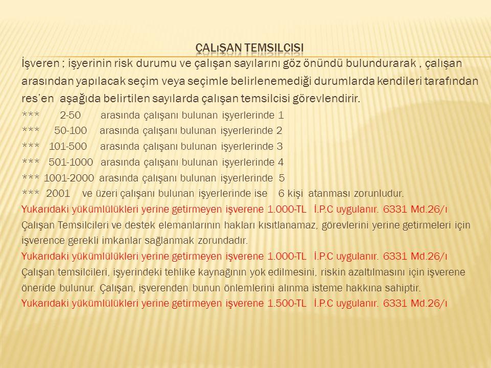 res'en aşağıda belirtilen sayılarda çalışan temsilcisi görevlendirir.