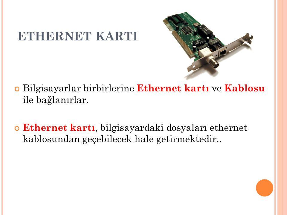 ETHERNET KARTI Bilgisayarlar birbirlerine Ethernet kartı ve Kablosu ile bağlanırlar.