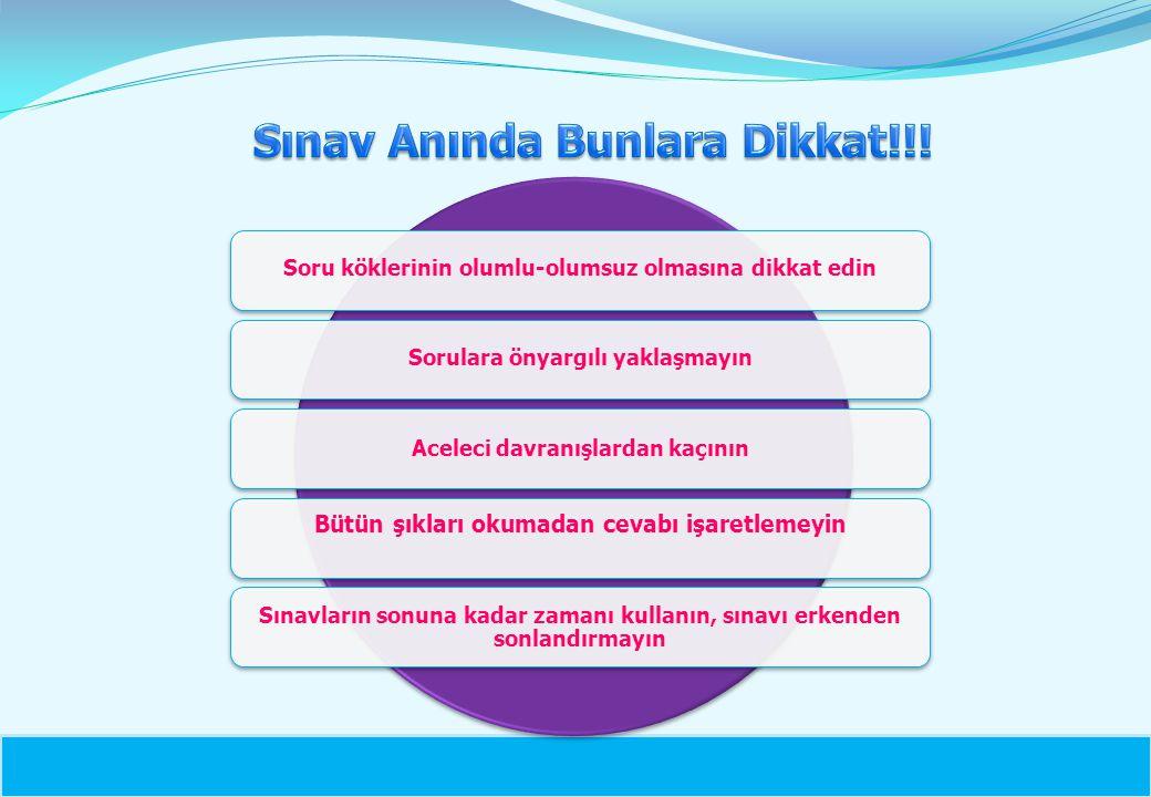 Sınav Anında Bunlara Dikkat!!!