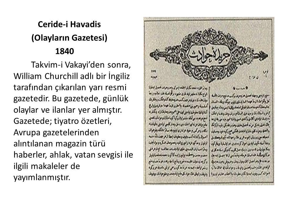 Ceride-i Havadis (Olayların Gazetesi) 1840.