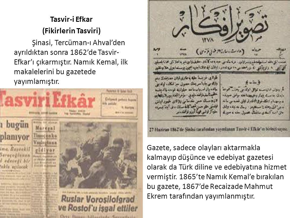 Tasvir-i Efkar (Fikirlerin Tasviri) Şinasi, Tercüman-ı Ahval'den ayrıldıktan sonra 1862'de Tasvir- Efkar'ı çıkarmıştır. Namık Kemal, ilk makalelerini bu gazetede yayımlamıştır.