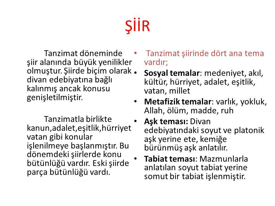 ŞİİR Tanzimat şiirinde dört ana tema vardır;