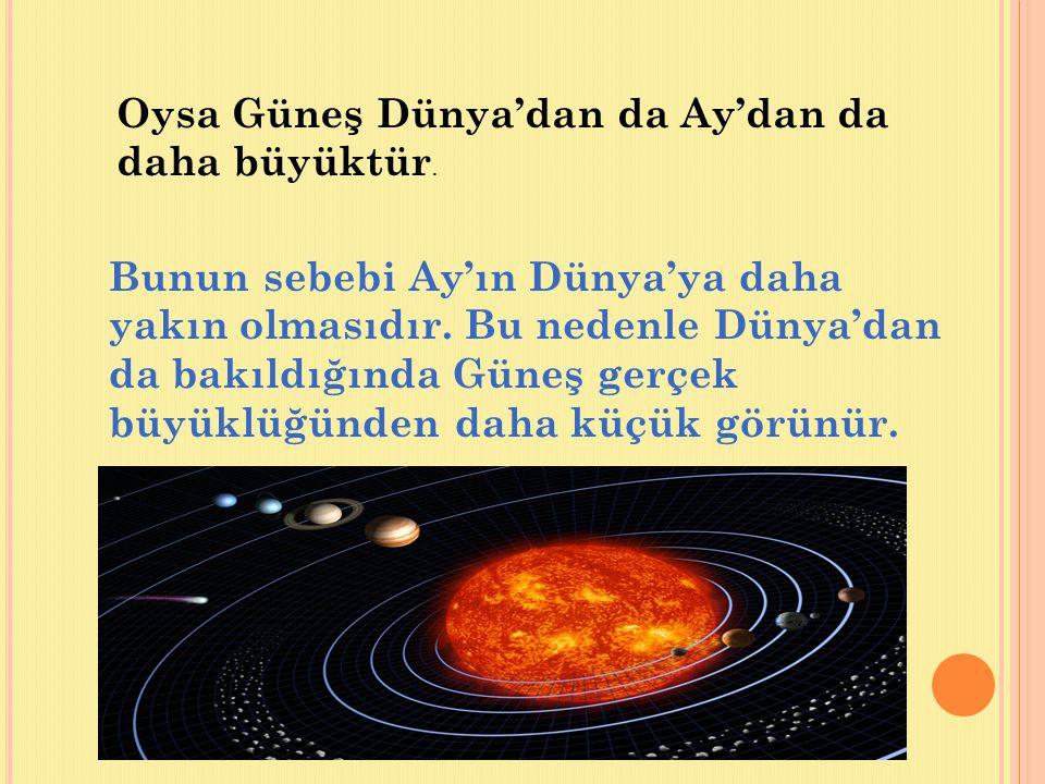 Oysa Güneş Dünya'dan da Ay'dan da daha büyüktür.