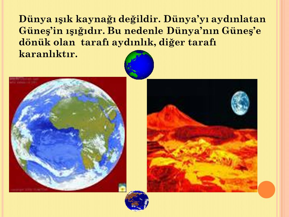 Dünya ışık kaynağı değildir. Dünya'yı aydınlatan Güneş'in ışığıdır