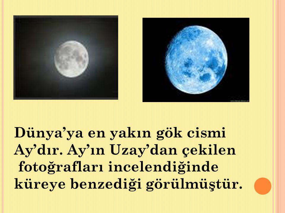 Dünya'ya en yakın gök cismi Ay'dır. Ay'ın Uzay'dan çekilen