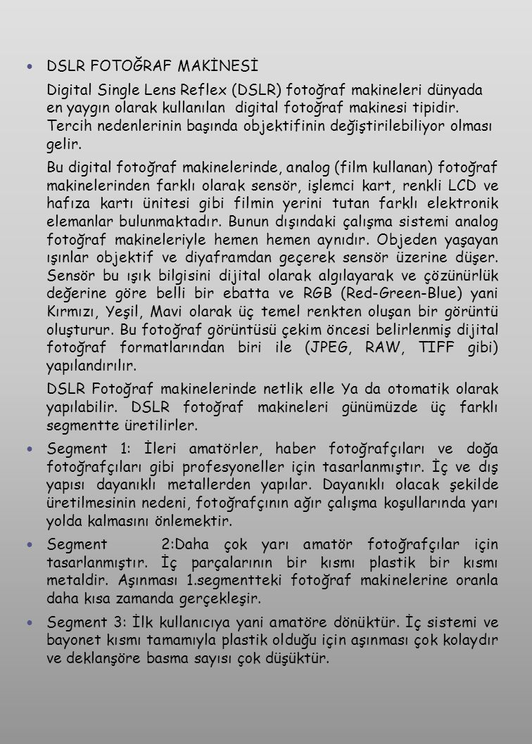 DSLR FOTOĞRAF MAKİNESİ