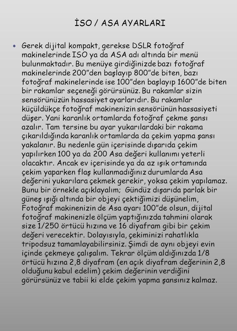 İSO / ASA AYARLARI