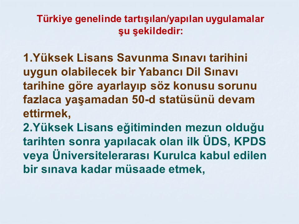 Türkiye genelinde tartışılan/yapılan uygulamalar