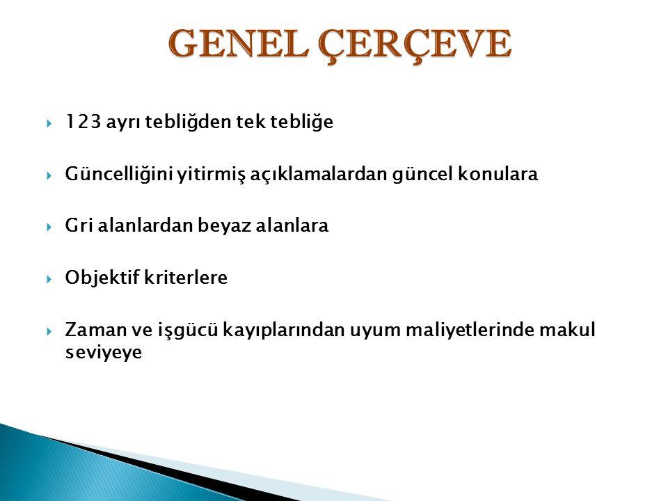 GENEL ÇERÇEVE 123 ayrı tebliğden tek tebliğe