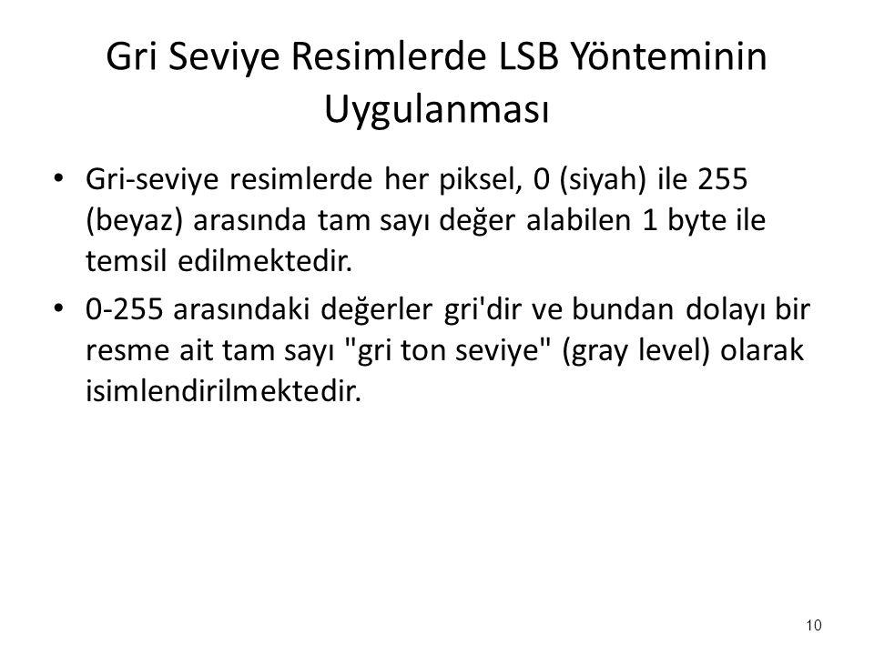 Gri Seviye Resimlerde LSB Yönteminin Uygulanması
