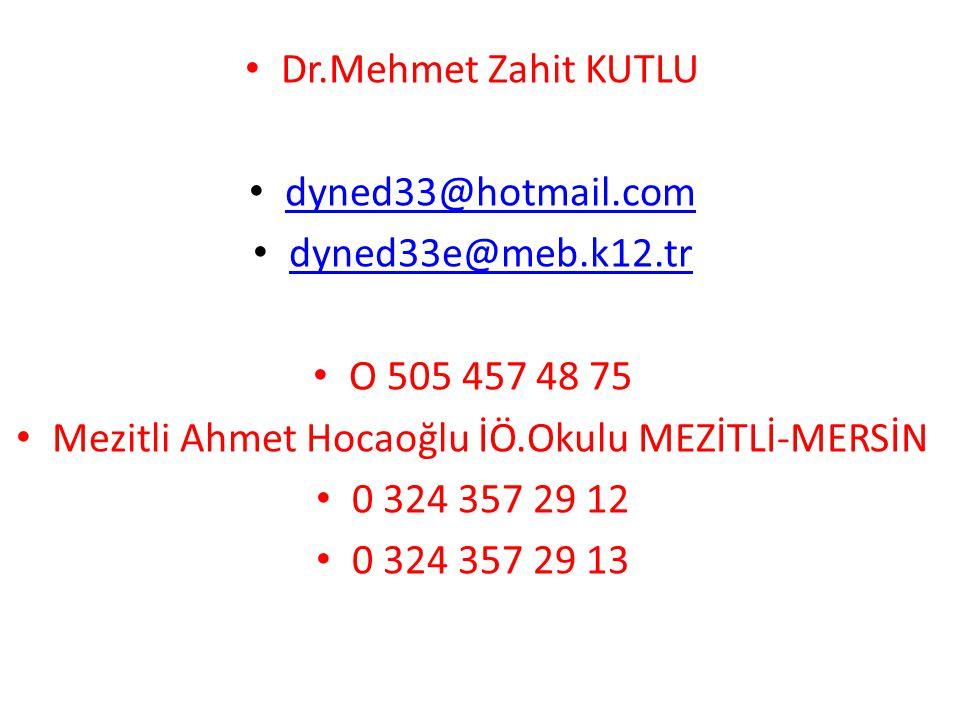 Mezitli Ahmet Hocaoğlu İÖ.Okulu MEZİTLİ-MERSİN