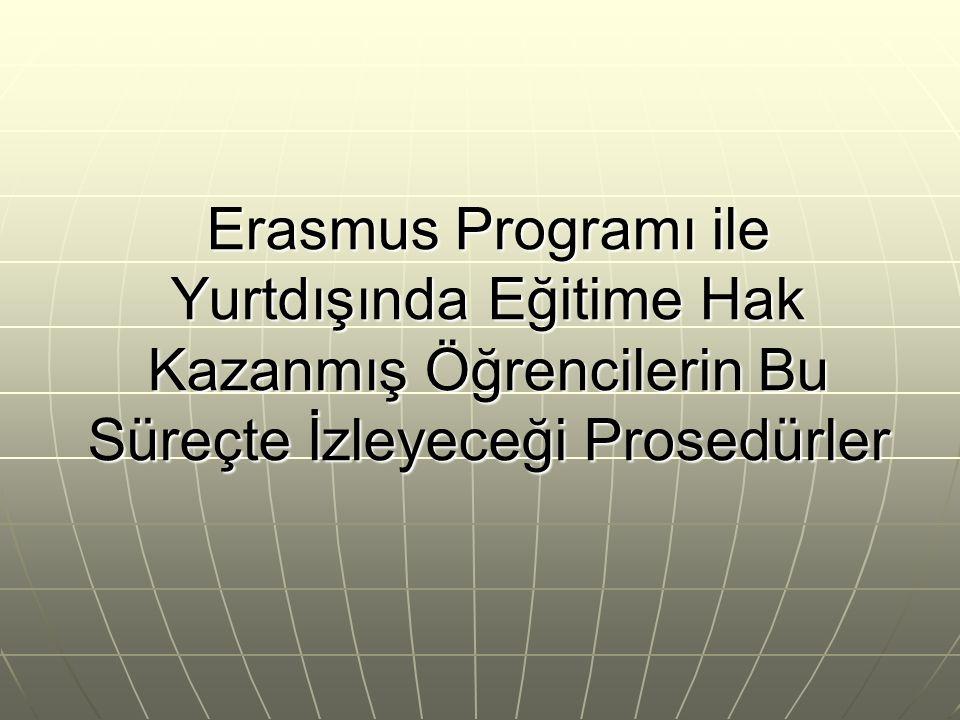 Erasmus Programı ile Yurtdışında Eğitime Hak Kazanmış Öğrencilerin Bu Süreçte İzleyeceği Prosedürler