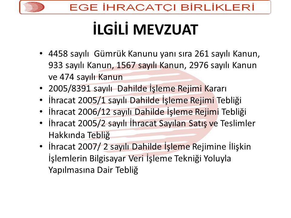 İLGİLİ MEVZUAT 4458 sayılı Gümrük Kanunu yanı sıra 261 sayılı Kanun, 933 sayılı Kanun, 1567 sayılı Kanun, 2976 sayılı Kanun ve 474 sayılı Kanun.