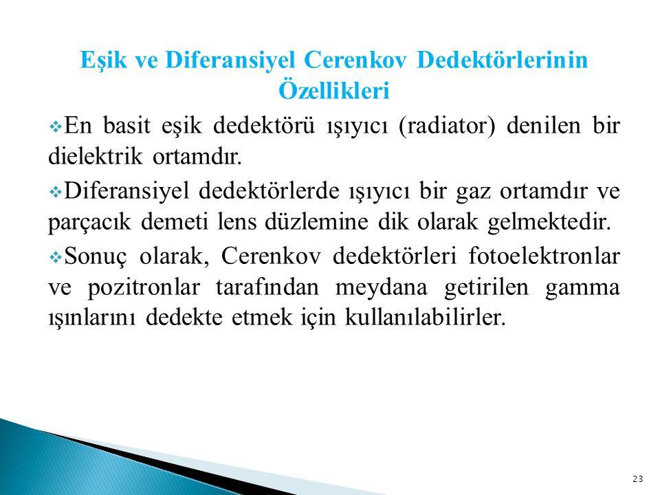 Eşik ve Diferansiyel Cerenkov Dedektörlerinin Özellikleri