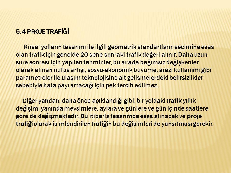 5.4 PROJE TRAFİĞİ.