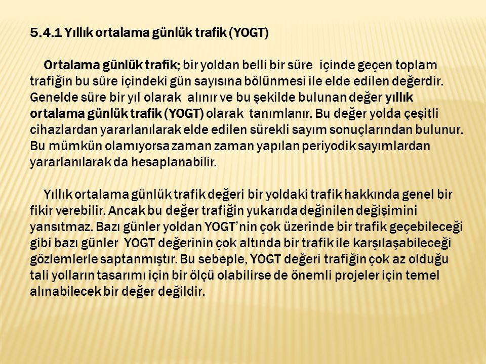 5.4.1 Yıllık ortalama günlük trafik (YOGT)
