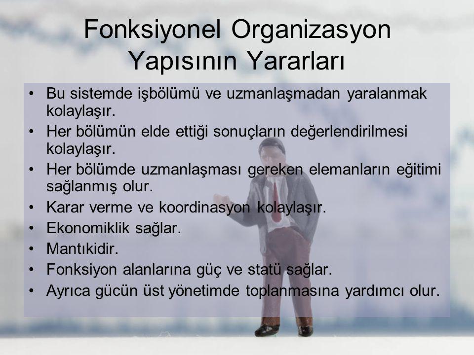 Fonksiyonel Organizasyon Yapısının Yararları