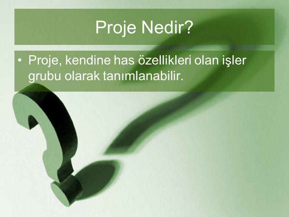 Proje Nedir Proje, kendine has özellikleri olan işler grubu olarak tanımlanabilir.