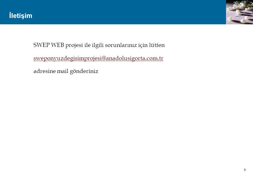 İletişim SWEP WEB projesi ile ilgili sorunlarınız için lütfen