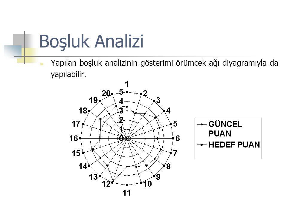 Boşluk Analizi Yapılan boşluk analizinin gösterimi örümcek ağı diyagramıyla da yapılabilir.