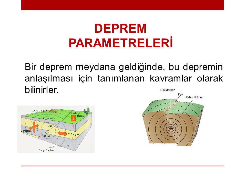 DEPREM PARAMETRELERİ Bir deprem meydana geldiğinde, bu depremin anlaşılması için tanımlanan kavramlar olarak bilinirler.