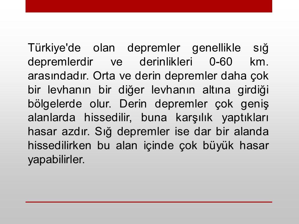 Türkiye de olan depremler genellikle sığ depremlerdir ve derinlikleri 0-60 km.