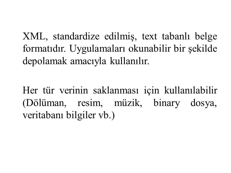 XML, standardize edilmiş, text tabanlı belge formatıdır