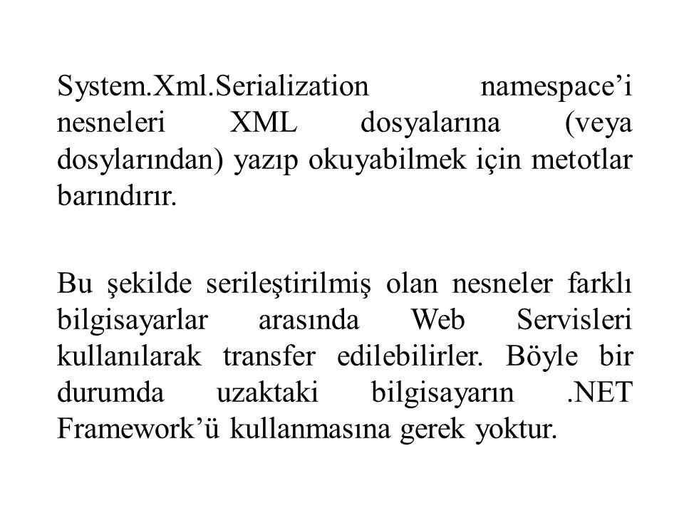 System.Xml.Serialization namespace'i nesneleri XML dosyalarına (veya dosylarından) yazıp okuyabilmek için metotlar barındırır.