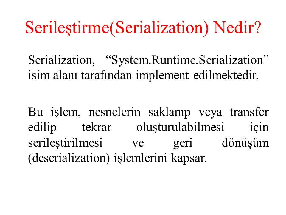 Serileştirme(Serialization) Nedir