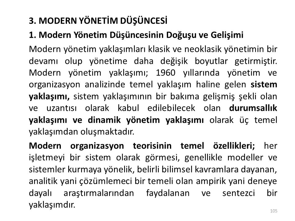 3. MODERN YÖNETİM DÜŞÜNCESİ 1