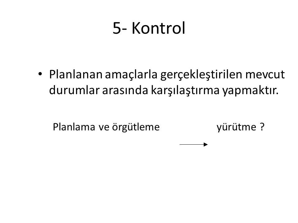 5- Kontrol Planlanan amaçlarla gerçekleştirilen mevcut durumlar arasında karşılaştırma yapmaktır.