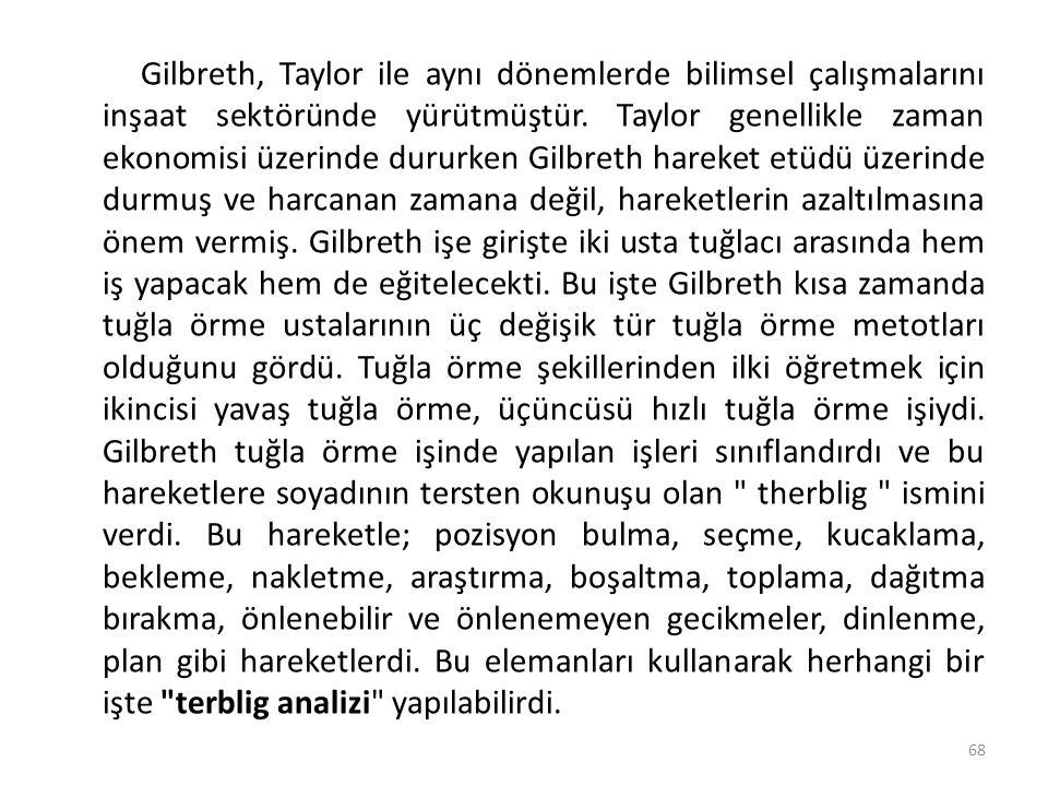 Gilbreth, Taylor ile aynı dönemlerde bilimsel çalışmalarını inşaat sektöründe yürütmüştür.